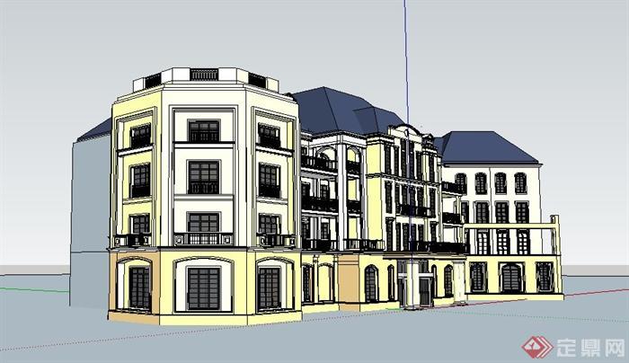 欧式四层办公楼原创立面学习su模型[建筑]活动设计方案设计图片