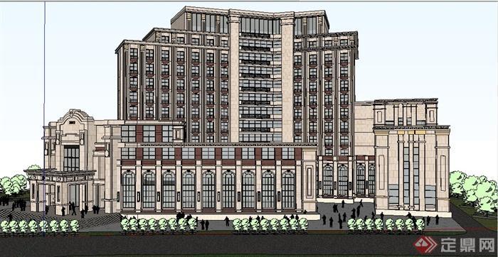 法式风格高层会馆会所建筑设计su模型[原创]图片