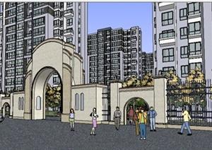 美式风格住宅小区建筑及景观设计SU(草图大师)模型