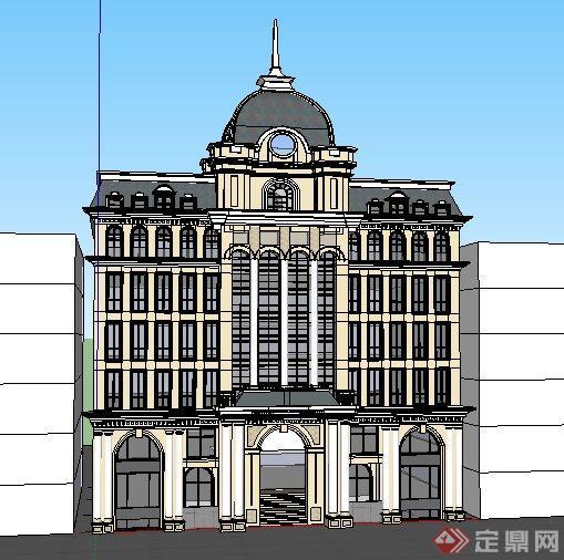 欧式风格办公楼建筑立面设计su模型[原创]