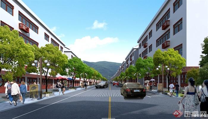某现代中式风格地区街景整治规划设计jpg方案[原创]