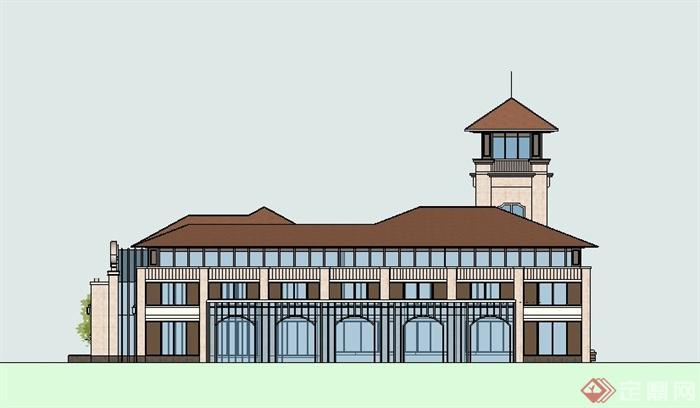 欧式风格会所建筑单体设计su精品模型[原创]