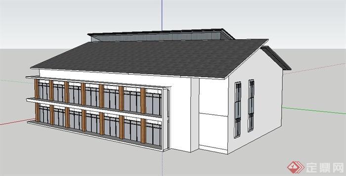 新中式三层办公楼建筑单体设计su模型[原创]
