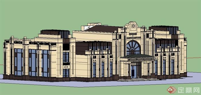 新古典风格二层售楼处建筑单体有什么可以免费领红包su模型[原创]