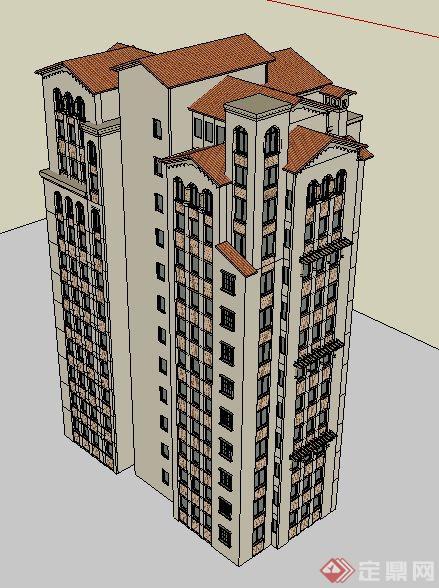 西班牙小高层住宅楼建筑单体设计su模型[原创]图片