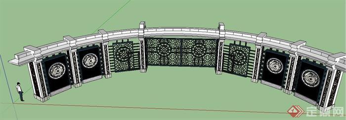现代风格弧形镂花景墙设计su模型[原创]