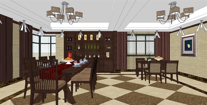 精品跃层别墅室内草图大师模型带渲染效果图 (1)(1)