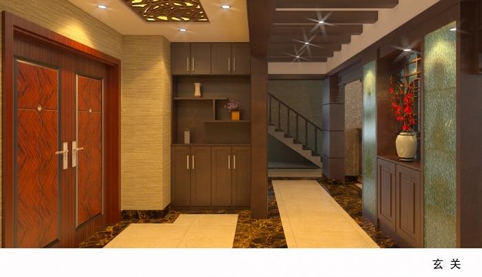 精品跃层别墅室内草图大师模型带渲染效果图 (1)(8)