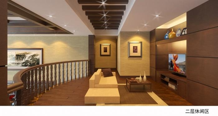 精品跃层别墅室内草图大师模型带渲染效果图 (1)(9)