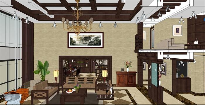 精品跃层别墅室内草图大师模型带渲染效果图 (1)(12)