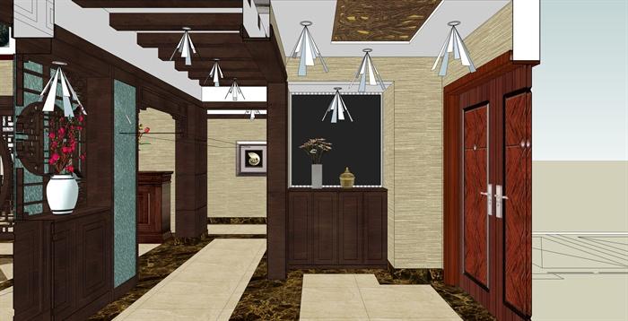 精品跃层别墅室内草图大师模型带渲染效果图 (1)(13)