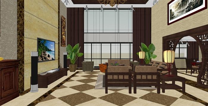 精品跃层别墅室内草图大师模型带渲染效果图 (1)(16)