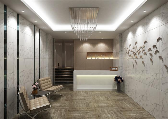 精品現代賓館大堂室內草圖大師模型加渲染效果圖(2)