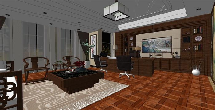 精品中式办公室内草图大师模型加渲染效果图(1)