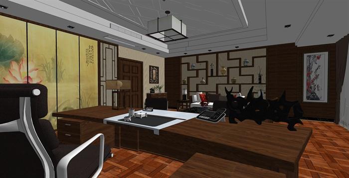 精品中式办公室内草图大师模型加渲染效果图(2)