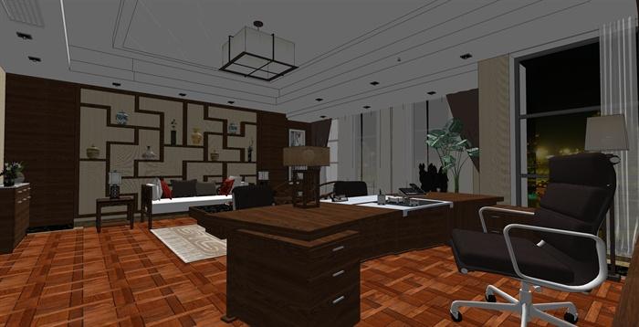 精品中式办公室内草图大师模型加渲染效果图(3)