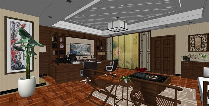精品中式办公室内草图大师模型加渲染效果图(4)