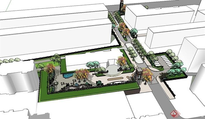 某欧式风格详细住宅小区中庭景观设计su模型[原创]