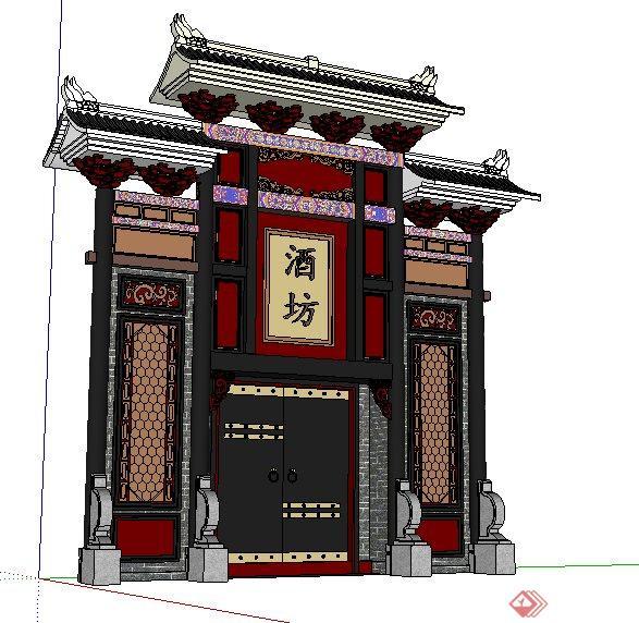 中式风格酒坊大门门头设计su模型[原创]