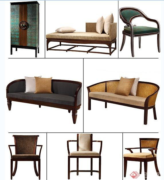 新中式家具psd抠图素材