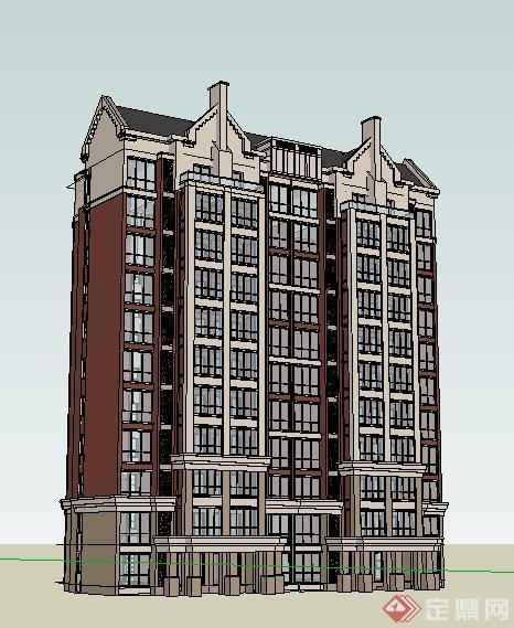 英式小高层公寓住宅楼建筑设计su模型[原创]图片