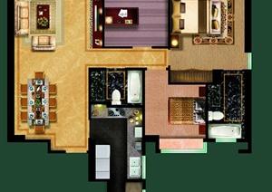 豪华四室两厅三卫户型图 PSD分层素材