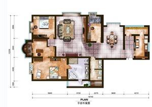 豪华四室两厅两卫户型图 PSD素材