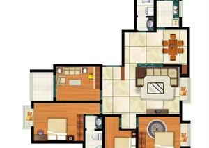 四室两厅两卫户型图 PSD分层素材