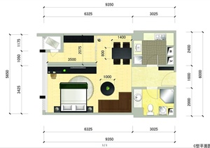 单身公寓户型图 PSD分层素材