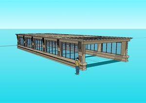 新古典风格车库入口玻璃棚架 设计SU(草图大师)模型