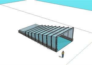 现代风格详细车库入口玻璃棚架设计SU(草图大师)模型