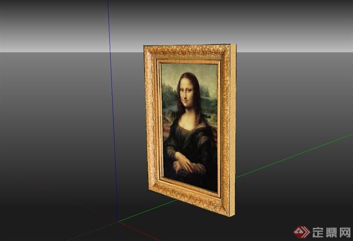 蒙娜丽莎的微笑相框素材设计su模型(1)