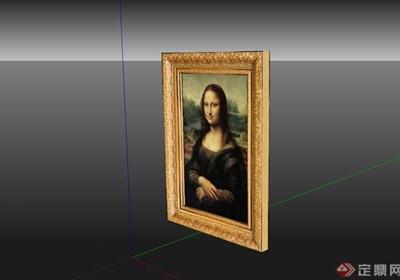 蒙娜丽莎的微笑相框素材设计su模型