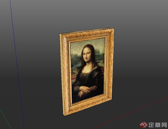 蒙娜丽莎的微笑相框素材设计su模型(2)