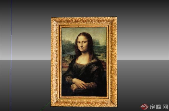 蒙娜丽莎的微笑相框素材设计su模型(3)