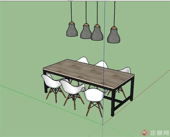 簡單的餐桌椅小吊燈設計su模型(1)