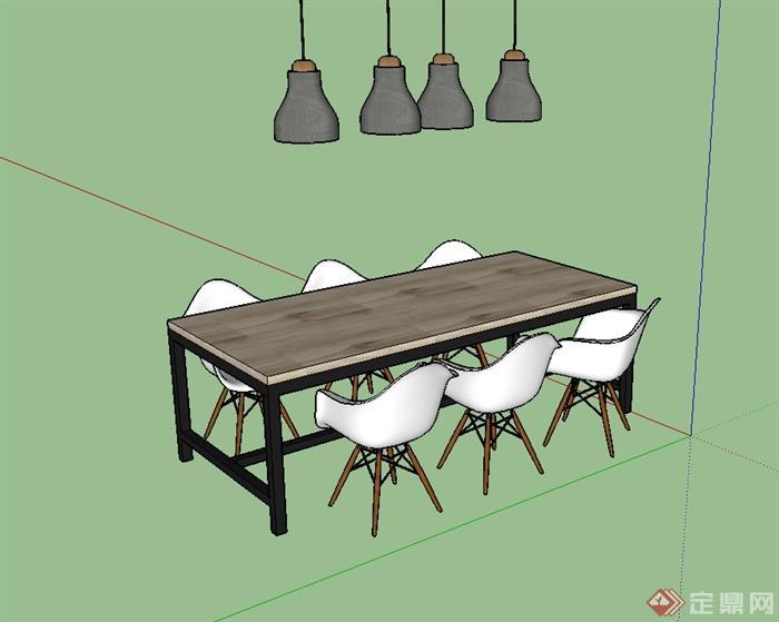 簡單的餐桌椅小吊燈設計su模型(2)