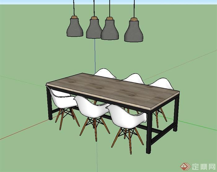 簡單的餐桌椅小吊燈設計su模型(3)