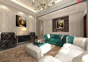 欧式风格复式住宅客厅室内设计SU(草图大师)模型-室内设计素材室