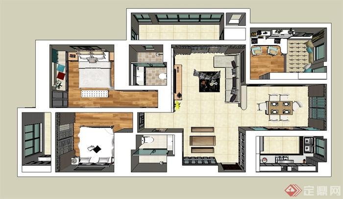现代风格家装户型设计su模型(1)
