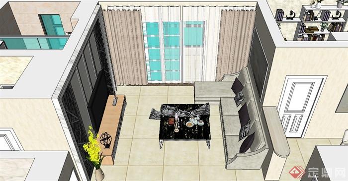现代风格家装户型设计su模型(2)