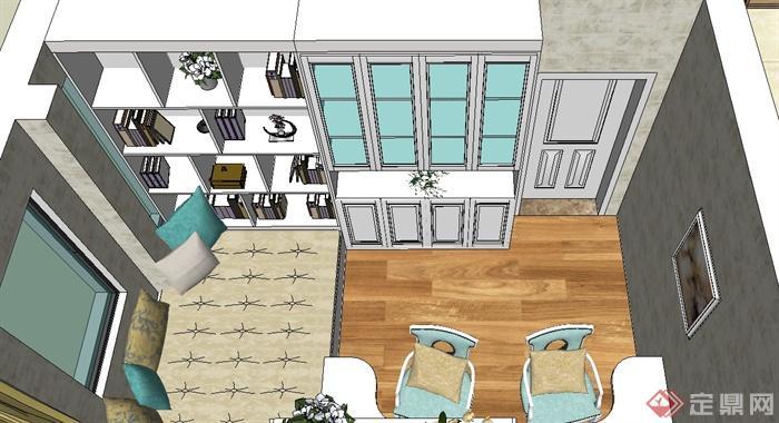 现代风格家装户型设计su模型(3)