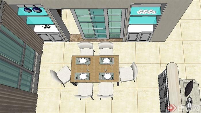 现代风格家装户型设计su模型(4)
