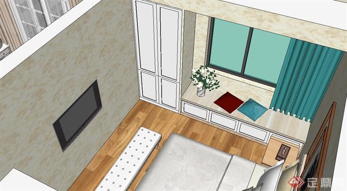 现代风格家装户型设计su模型(6)