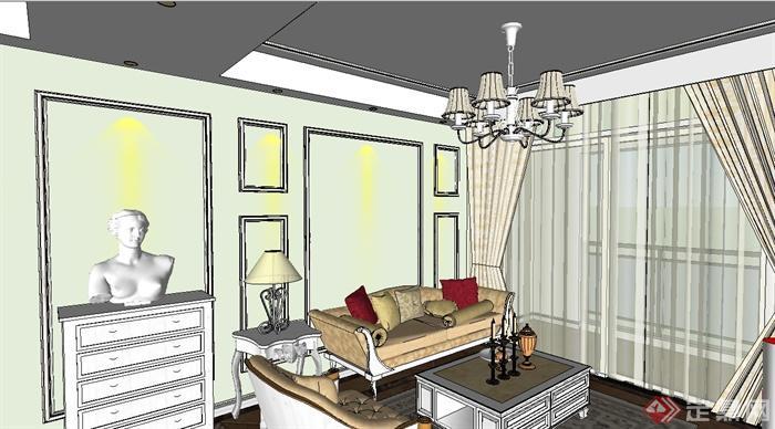 欧式三房户型室内装饰设计su模型(2)