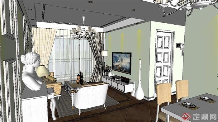 欧式三房户型室内装饰设计su模型(1)