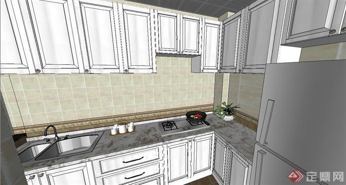 欧式三房户型室内装饰设计su模型(4)