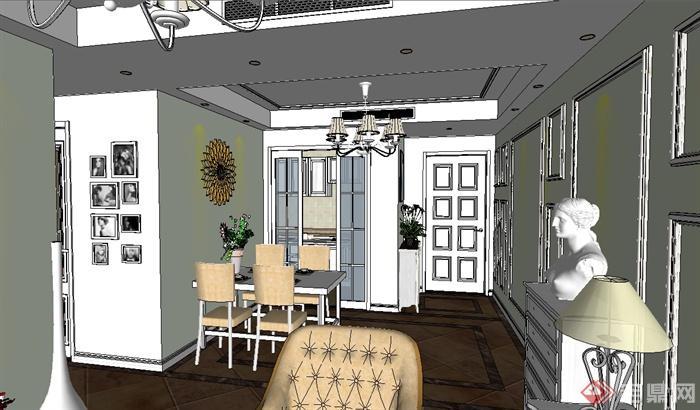 欧式三房户型室内装饰设计su模型(3)