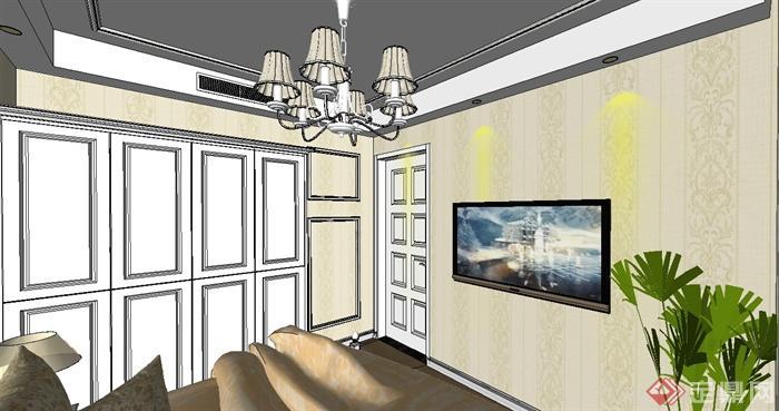 欧式三房户型室内装饰设计su模型(5)