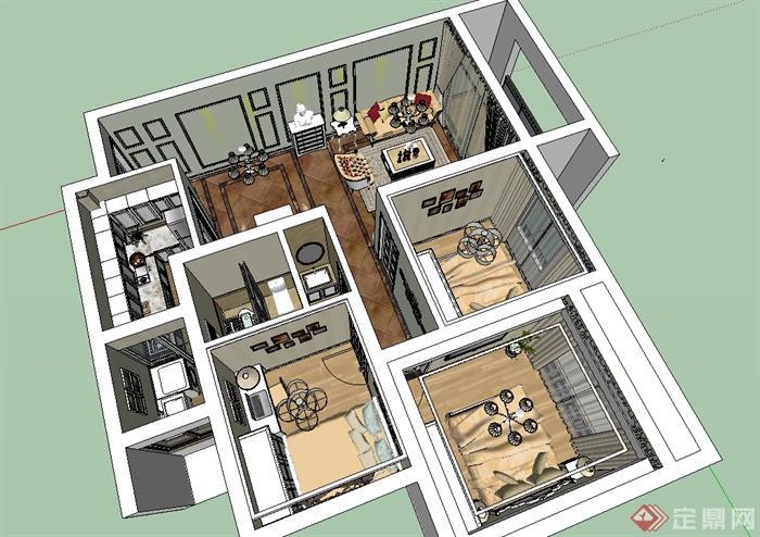 欧式三房户型室内装饰设计su模型(6)